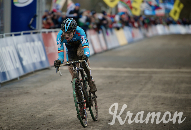 Wout Van Aert (BEL) going into the last lap as 3rd and determined to catch up to Lars Van der Haar (NLD) 8 seconds in front of him<br /> <br /> Elite Men's race<br /> <br /> 2015 UCI World Championships Cyclocross <br /> Tabor, Czech Republic
