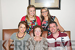 HAPPY BIRTHDAY: Breda Browne, Abbeyfeale (seated centre) pictured with Rachael and Eugene Browne, as she celebrated her birthday in Bella Bia restaurant on Sunday night. Also pictured were back l-r: Chantelle and Bridget Murphy.