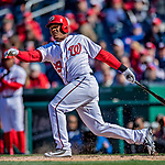 5 April 2018: Washington Nationals catcher Pedro Severino in action against the New York Mets at Nationals Park in Washington, DC. The Mets defeated the Nationals 8-2 in the first game of their 3-game series. Mandatory Credit: Ed Wolfstein Photo *** RAW (NEF) Image File Available ***
