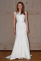 Model poses in a David's Bridal gown for the David's Bridal Fall 2017 fashion show presentation on April 19, 2017; during New York Bridal Fashion Week.