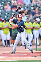 Sheldon Neuse of the Hagerstown Sun participates in the home run derby as part of the All Star Game festivities at Spirit Communications Park on June 19, 2017 in Columbia, South Carolina. The Soldiers defeated the Celebrities 1-0. (Tony Farlow/Four Seam Images)