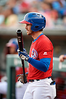 Buffalo Bisons right fielder Ian Parmley (1) on deck during a game against the Lehigh Valley IronPigs on June 23, 2018 at Coca-Cola Field in Buffalo, New York.  Lehigh Valley defeated Buffalo 4-1.  (Mike Janes/Four Seam Images)