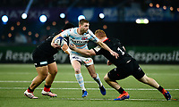 17th November 2019,  Paris La Défense Arena, Hauts-de-Seine, France; Champions Cup Rugby Union, Racing 92 versus Saracens;  Finn RUSSELL (Racing ) tackled by R Carre (Saracens )