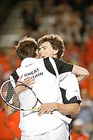 7-4-07, England, Birmingham, Tennis, Daviscup England-Netherlands, Jaimie Murray and Greg Rusedski celebrating the defeat of the Netherlands