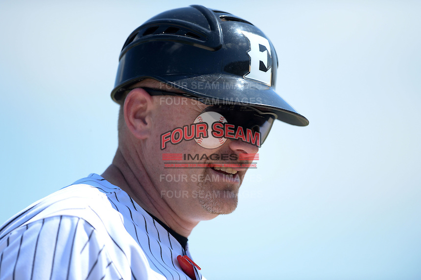 Edgewood Eagles head coach Al Brisack during the second game of a doubleheader against the UW-Stout Blue Devils on March 16, 2015 at Lee County Player Development Complex in Fort Myers, Florida.  UW-Stout defeated Edgewood 8-2.  (Mike Janes/Four Seam Images)
