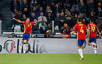 Spain&rsquo;s Vitolo, left, celebrates with teammates after scoring during the Fifa World Cup 2018 qualification soccer match between Italy and Spain at Turin's Juventus Stadium, October 6, 2016. The game ended 1-1.<br /> UPDATE IMAGES PRESS/Isabella Bonotto