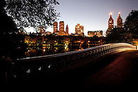Bow Bridge in New York's Central Park at Dusk.