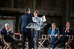 Cheryl Saban greeted by Bob Eiger, CEO of Disney, as husband philanthropist Haim Saban looks on at press conference for The Academy Museum of Motion Pictures in Los Angeles where they announced a gift donation of 50 million dollars.
