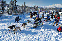 Jordan Seager weaves through snowmachines as he starts the 2015 Junior Iditarod on the Denali Highway on on Sunday March 1, 2015.<br /> <br /> <br /> <br /> (C) Jeff Schultz/SchultzPhoto.com - ALL RIGHTS RESERVED<br />  DUPLICATION  PROHIBITED  WITHOUT  PERMISSION