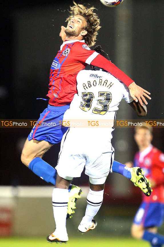 Stanley Aborah of Notts County and Christian Doidge of Dagenham during Dagenham and Redbridge vs Notts County, Sky Bet League 2 Football at the Chigwell Construction Stadium, London, England on 29/09/2015