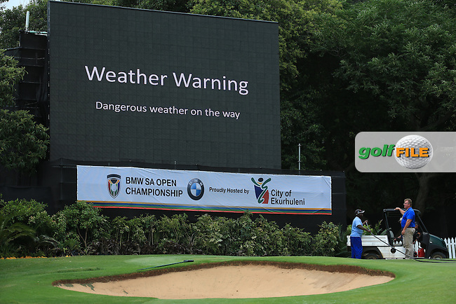 Play is suspended during Round Two due to lightning threat at the 2016 BMW SA Open hosted by City of Ekurhuleni, played at the Glendower Golf Club, Gauteng, Johannesburg, South Africa.  08/01/2016. Picture: Golffile | David Lloyd<br /> <br /> All photos usage must carry mandatory copyright credit (&copy; Golffile | David Lloyd)