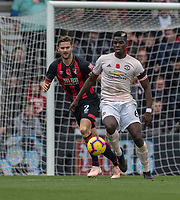 Manchester United's Paul Pogba (right) under pressure from Bournemouth's Simon Francis (left) <br /> <br /> Photographer David Horton/CameraSport<br /> <br /> The Premier League - Bournemouth v Manchester United - Saturday 3rd November 2018 - Vitality Stadium - Bournemouth<br /> <br /> World Copyright &copy; 2018 CameraSport. All rights reserved. 43 Linden Ave. Countesthorpe. Leicester. England. LE8 5PG - Tel: +44 (0) 116 277 4147 - admin@camerasport.com - www.camerasport.com