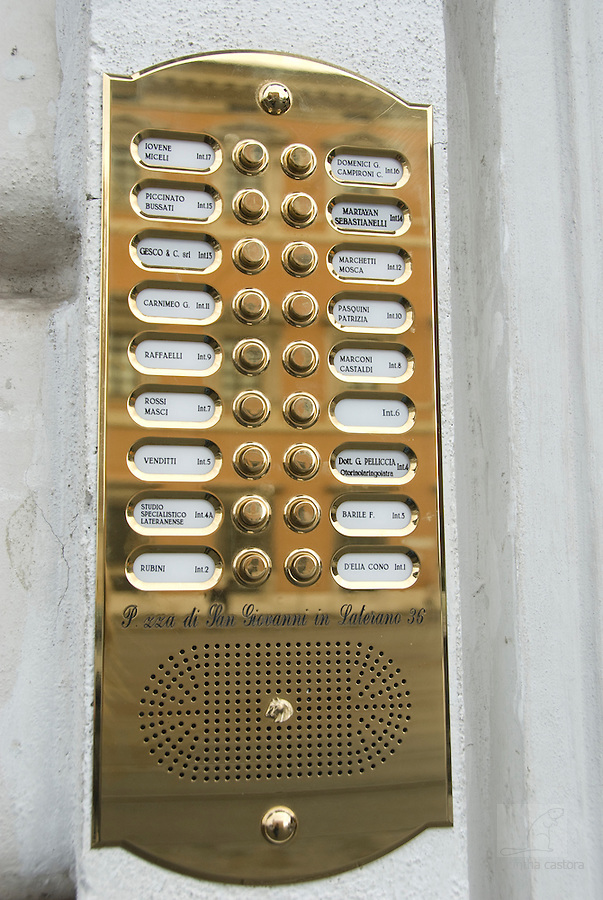 door bells of Piazzo di San Giovanni in Laterano 36, rome, italy,
