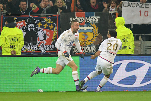 28.02.2016. Lyon, France. French League 1 football. Olympique Lyon versus Paris St Germain.  SERGI DARDER (ol) delebrates his goal for 2-0 in the 45th minute
