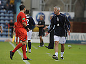 08/08/2009  Copyright  Pic : James Stewart.sct_17_dundee_v_morton  .DAVIE IRONS IS SPOKEN TO BY REFEREE JAMES MACKIE....James Stewart Photography 19 Carronlea Drive, Falkirk. FK2 8DN      Vat Reg No. 607 6932 25.Telephone      : +44 (0)1324 570291 .Mobile              : +44 (0)7721 416997.E-mail  :  jim@jspa.co.uk.If you require further information then contact Jim Stewart on any of the numbers above.........