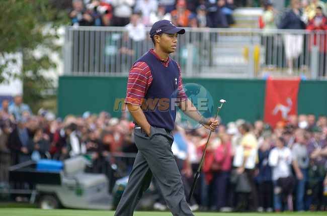 24th September, 2006. American Ryder Cup Team player Tiger Woods walks onto the 16th green during the singles final session of the last day of the 2006 Ryder Cup at the K Club in Straffan, County Kildare in the Republic of Ireland..Photo: Barry Cronin/ Newsfile.