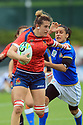 BELFAST, NORTHERN IRELAND - AUGUST 26: Spain's Angela Del Medin scores a try while trying to be stopped by Italy's Sara Barattin during a final play off  in the Women's World Cup Rugby 2017 at Queen's  University Belfast, Saturday,  August 26, 2017. Photo/Paul McErlane