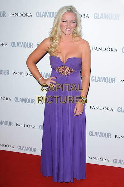 Michelle Mone.The Glamour Women of the Year Awards 2011 - inside arrivals London, England..June 7th, 2011.full length purple strapless dress maxi hand on hip cutout beaded diamante  cleavage .CAP/CJ.©Chris Joseph/Capital Pictures.
