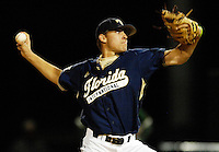 The Florida International University Golden Panthers (16-15, 3-6 Sun Belt) versus the University of Miami (17-13, 5-7 ACC) at Mark Light Field, Coral Gables, Florida on Wednesday, April 4, 2007...Freshman pitcher Brian Santana (27)