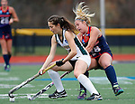 EASTON, MA - NOVEMBER 20:  Katelyn Grazan (28) of Shippensburg University battles for the ball with Grace Ilias (12) of LIU Post during the NCAA Division II Field Hockey Championship at WB Mason Stadium on November 20, 2016 in Easton, Massachusetts.  Shippensburg University defeated LIU Post 2-1 for the national title. (Photo by Winslow Townson/NCAA Photos via Getty Images)