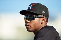 Bryce Bush (25) of the Kannapolis Intimidators watches the action from the dugout during the game against the Hickory Crawdads at Kannapolis Intimidators Stadium on May 6, 2019 in Kannapolis, North Carolina. The Crawdads defeated the Intimidators 2-1 in game one of a double-header. (Brian Westerholt/Four Seam Images)