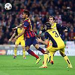 UEFA Champions League 2013/2014.<br /> Quarter-finals 1st leg.<br /> FC Barcelona vs Club Atletico de Madrid: 1-1.<br /> Neymar, Godin &amp; Filipe Luis.