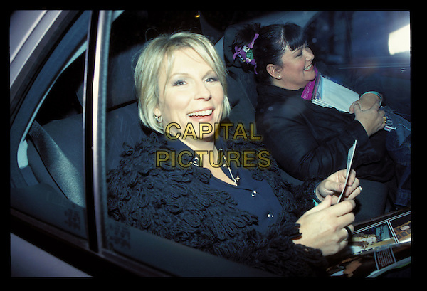 JENNIFER SAUNDERS & DAWN FRENCH.Jennifer Saunders Archive.10th November 2000.Ref:Adam Houghton.half length seated sitting in car smiling.sales@capitalpictures.com.www.capitalpictures.com.©Capital Pictures.
