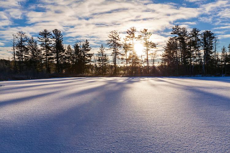 Wiinter sunrise light on frozen Little Bearskin Lake; Northern Highland American Legion State Forest, WI
