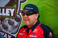 Jun 17, 2018; Bristol, TN, USA; NHRA funny car driver Cruz Pedregon during the Thunder Valley Nationals at Bristol Dragway. Mandatory Credit: Mark J. Rebilas-USA TODAY Sports