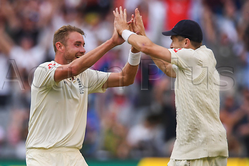 30th December 2017, Melbourne Cricket Ground, Melbourne, Australia; The Ashes Series, fourth test, day 5, Australia versus England; Stuart Broad of England celebrates the wicket of Shaun Marsh