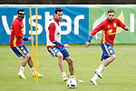 Spain's Pedro Rodriguez, Sergio Busquets and Jordi Alba during preparing training stage to Euro 2016. May 30,2016.(ALTERPHOTOS/Acero)
