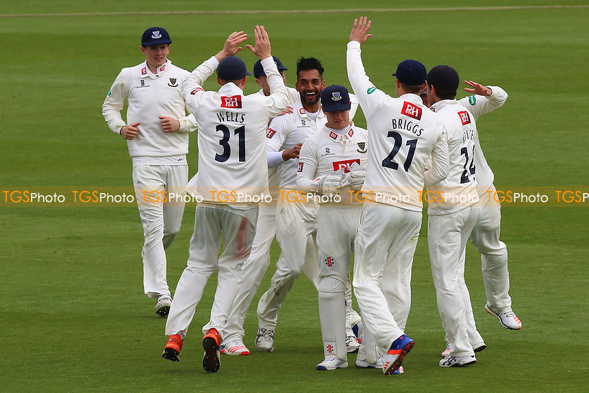 Ajmal Shazad of Sussex (C) celebrates taking the wicket of Jesse Ryder during Sussex CCC vs Essex CCC, Specsavers County Championship Division 2 Cricket at The 1st Central County Ground on 18th April 2016