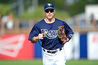 Tampa Bay Rays outfielder Brandon Guyer #10 during a Grapefruit League Spring Training game against the Boston Red Sox at Charlotte County Sports Park on February 25, 2013 in Port Charlotte, Florida.  Tampa Bay defeated Boston 6-3.  (Mike Janes/Four Seam Images)
