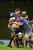 Luke Romano tackles Suliasi Taufalele. The game of Three Halves, a pre-season warm-up game between the Counties Manukau Steelers, Northland and the All Blacks, played at ECOLight Stadium, Pukekohe, on Friday August 12th 2016. Photo by Richard Spranger.