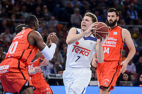 Real Madrid's Luka Doncic and Valencia Basket's Romain Sato during Quarter Finals match of 2017 King's Cup at Fernando Buesa Arena in Vitoria, Spain. February 19, 2017. (ALTERPHOTOS/BorjaB.Hojas)