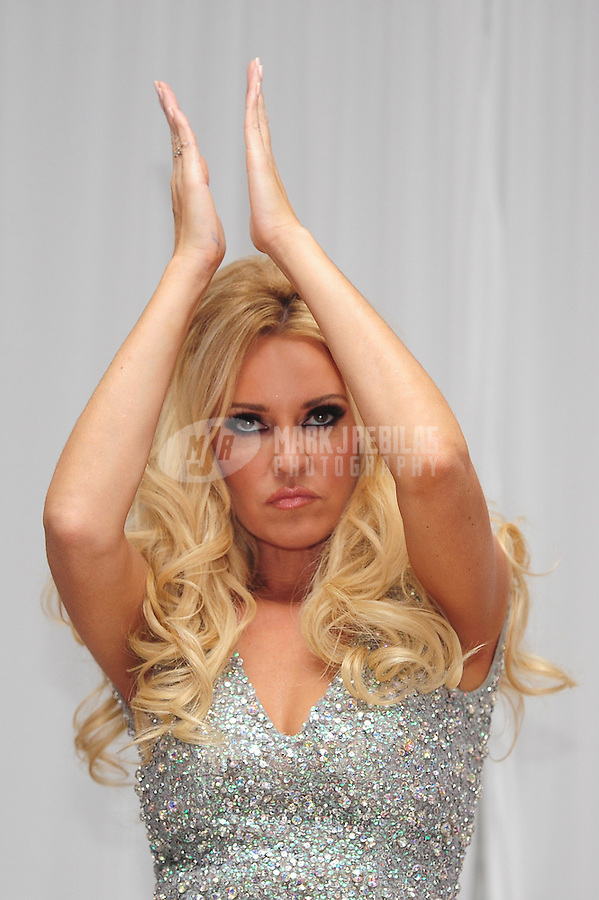 Feb 4, 2012; Indianapolis, IN, USA; Playboy playmate Bridget Marquardt in attendance at the Leather and Laces event at the Regions Bank Tower. Mandatory Credit: Mark J. Rebilas-