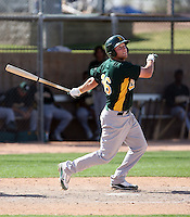 Chad Lewis #26 of the Oakland Athletics plays in an extended spring training game against the Colorado Rockies at the Athletics minor league complex on April 13, 2011  in Phoenix, Arizona. .Photo by:  Bill Mitchell/Four Seam Images.
