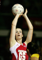 16.11.2007 England's Louisa Brownfield in action during the Australia v England match at the New World Netball World Champs held at Trusts Stadium Auckland New Zealand. Mandatory Photo Credit ©Michael Bradley.