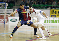 Caja Segovia's Sergio Gonzalez (r) and FC Barcelona Alusport's Gabriel Da Silva during Spanish National Futsal League match.November 24,2012. (ALTERPHOTOS/Acero) /NortePhoto