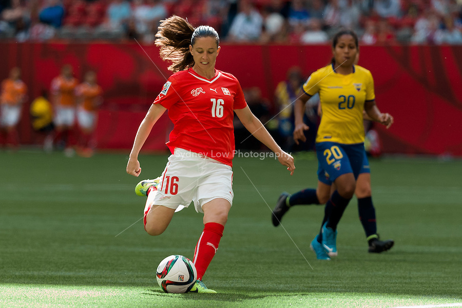 June 12, 2015: Fabienne HUMM of Switzerland kicks for goal and scores during a Group C match at the FIFA Women's World Cup Canada 2015 between Switzerland and Ecuador at BC Place Stadium on 12 June 2015 in Vancouver, Canada. Switzerland won 10-1. Sydney Low/AsteriskImages