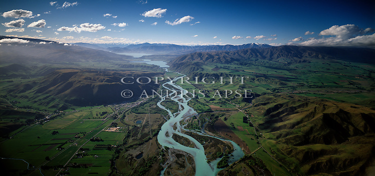 Aerial view of the Waitaki river and farmland. Otago Region. New Zealand.
