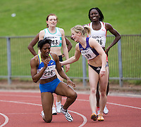 17 JUL 2008 - LOUGHBOROUGH, UK - Emma Bailey congratulates Montell Douglas for breaking the British womens 100m record in a time of 11.05 seconds - 100m -  Loughborough European Athletics Permit Meeting. (PHOTO (C) NIGEL FARROW)