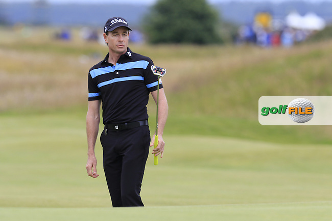Brett Rumford (AUS) putts onto the 17th green during Monday's Final Round of the 144th Open Championship, St Andrews Old Course, St Andrews, Fife, Scotland. 20/07/2015.<br /> Picture Eoin Clarke, www.golffile.ie
