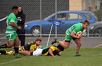 Hunter Prescott scores during the Mitre 10 Cup preseason rugby match between the Wellington Lions and Manawatu Turbos at Otaki Domain in Otaki, New Zealand on Sunday, 6 August 2017. Photo: Dave Lintott / lintottphoto.co.nz