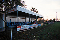 The main stand at Carterton Town FC Football Ground, Kilkenny Lane, Carterton, Oxfordshire, pictured on 28th December 1993