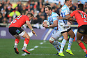 Racing 92's 8 is tackled by Ulster's 13 at the Kingspan Stadium, Belfast, Northern Ireland, 12 Jan 2019. Photo/Paul McErlane