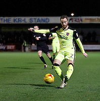 Exeter City's Ryan Harley puts in a cross during the Sky Bet League 2 match between Crawley Town and Exeter City at Broadfield Stadium, Crawley, England on 28 February 2017. Photo by Carlton Myrie / PRiME Media Images.