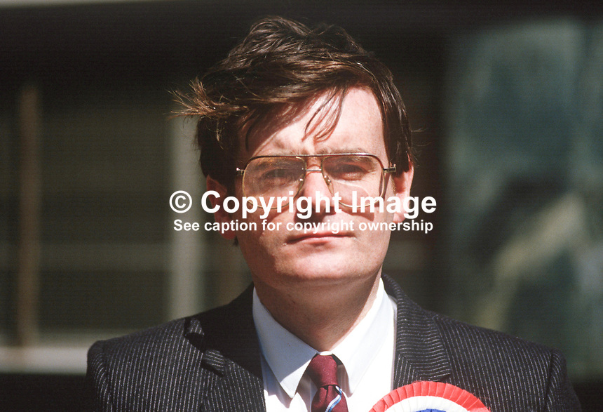 George Seawright, Independent Unionist candidate, June 1987, UK General Election, 19870603GS1.<br /> <br /> Copyright Image from Victor Patterson, 54 Dorchester Park, Belfast, UK, BT9 6RJ<br /> <br /> t1: +44 28 9066 1296 (from Rep of Ireland 048 9066 1296)<br /> t2: +44 28 9002 2446 (from Rep of Ireland 048 9002 2446)<br /> m: +44 7802 353836<br /> <br /> victorpatterson@me.com<br /> www.victorpatterson.com<br /> <br /> Please see my Terms and Conditions of Use at victorpatterson.com . It is IMPORTANT that you familiarise yourself with them.<br /> <br /> Images used on the Internet incur an additional cost and must be visibly watermarked i.e. &copy;Victor Patterson within the body of the image and copyright metadata must not be deleted. Images used on the Internet have a size restriction of 4kbs and are chargeable at rates available at victorpatterson.com.<br /> <br /> This image is only available for the use of the download recipient i.e. television station, newspaper, magazine, book publisher, etc, and must not be passed on to any third party. It is also downloaded on condition that each and every usage is notified within 7 days to victorpatterson@me.com<br /> <br /> The right of Victor Patterson to be identified as the author is asserted in accordance with The Copyright Designs And Patents Act (1988). All moral rights are asserted.