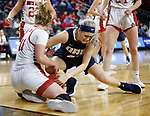 SIOUX FALLS, SD - MARCH 8: Jentry Holt #41 of Oral Roberts and Monica Arens #11 of South Dakota at the 2020 Summit League Basketball Championship in Sioux Falls, SD. (Photo by Richard Carlson/Inertia)