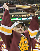 Keegan Flaherty (Duluth - 14) - The University of Minnesota-Duluth Bulldogs celebrated their 2011 D1 National Championship win on Saturday, April 9, 2011, at the Xcel Energy Center in St. Paul, Minnesota.